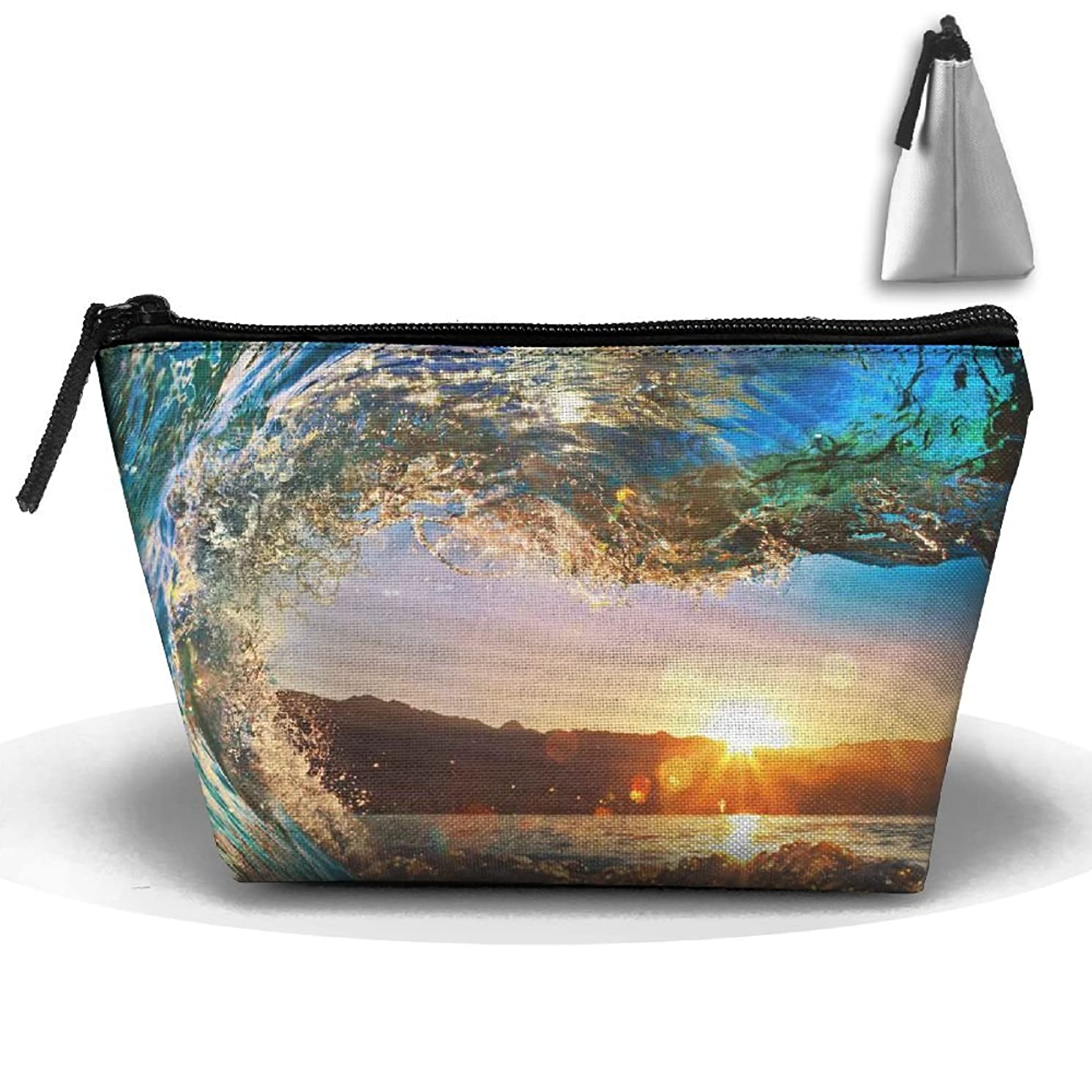 RobotDayUpUP Sunset Surf Double Panel Womens Travel Cosmetic Bag Portable Toiletry Brush Storage Multipurpose Pen Pencil Bags Accessories Sewing Kit Pouch Makeup Carry Case