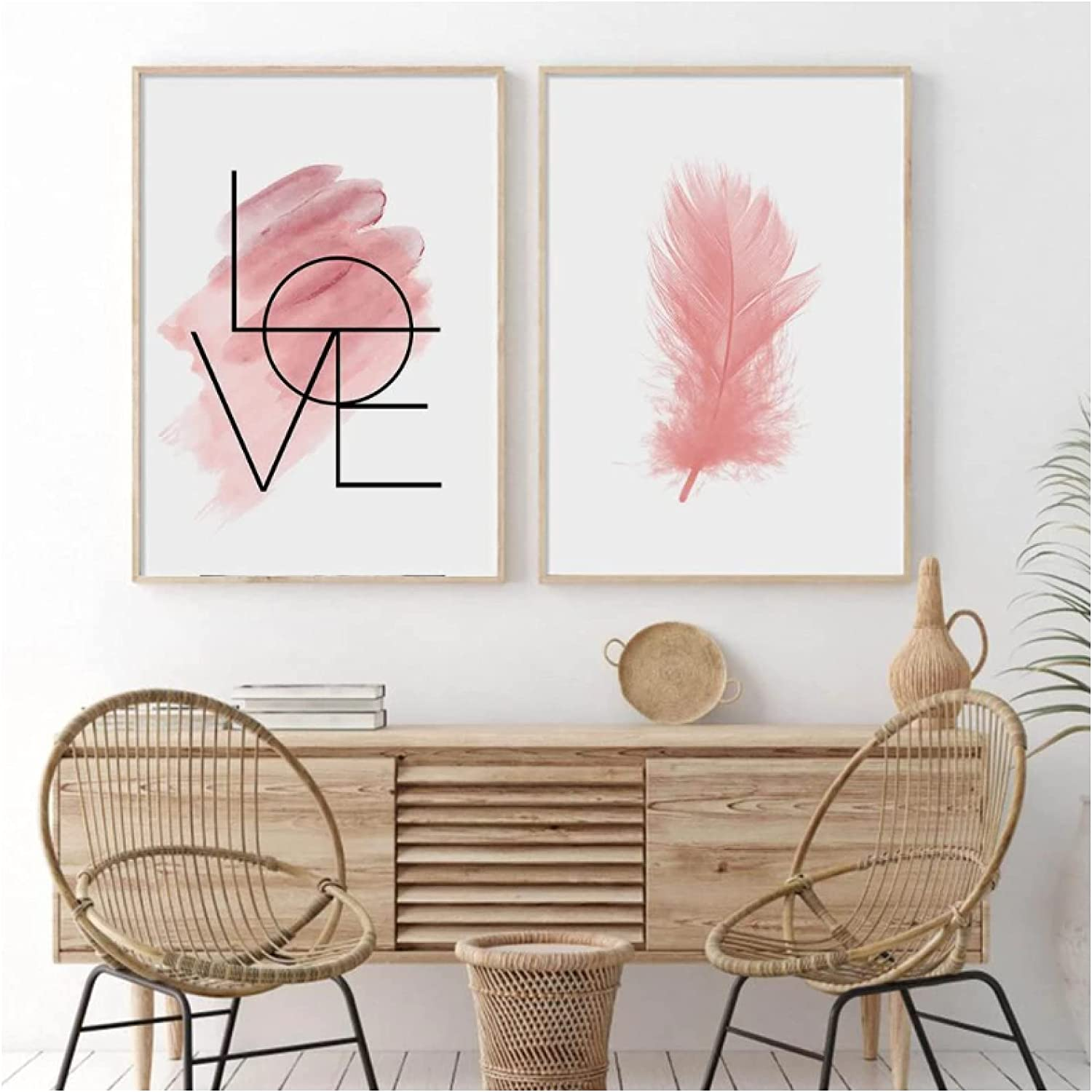 Jhmjqx Popular popular Motivational Love Text Poster Pink Pic Decorative Feather Boston Mall