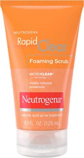 Neutrogena Rapid Clear Foaming Exfoliating Facial Scrub with Salicylic Acid Acne Medicine For Breakouts and Acne-Prone Skin, 4.2 fl. oz