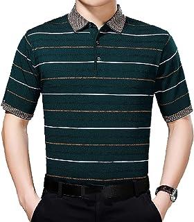 Winwinus Mens Short Sleeve Stripes Contrast Color Turn Down Collar Polo Shirts Tees