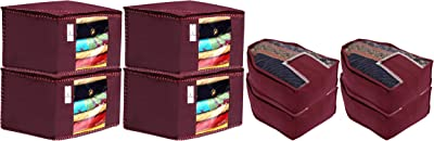 Kuber Industries Non Woven 4 Pieces Saree Cover/Cloth Wardrobe Organizer and 4 Pieces Blouse Cover Combo Set (Maroon)- CTKTC045343