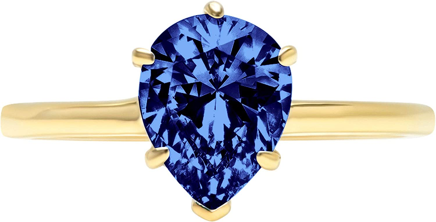 2.50 ct Brilliant Pear Cut Solitaire Flawless Simulated CZ Blue Tanzanite Ideal VVS1 6-Prong Engagement Wedding Bridal Promise Anniversary Designer Ring Solid 14k Yellow Gold for Women