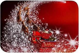 A.Monamour Santa Claus Riding Sleigh Reindeer Print Christmas Holiday Themed Absorbent Soft Flannel Anti-Skid Shaggy Bath ...