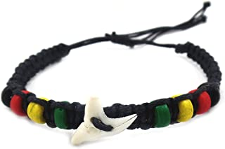 Shark Tooth Bracelet-Real Shark Bracelet-Shark Tooth Jewelry-Shark Bracelet Rasta