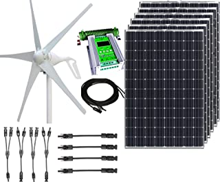 1000W 24V Hybrid Wind Solar Power DIY Off-Grid Kit - 400W Wind Turbine + 6x100W 12V Mono Solar Panels + 50A Hybrid MPPT Controller + Solar Panel MC4 Cabling