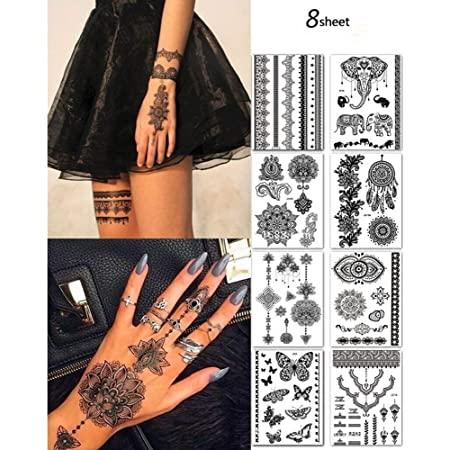 8 Sheets Temporary Tattoo Stickers Lace Sexy Body Waterproof Tattoo stickers Women Wedding Party