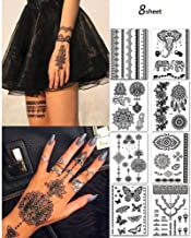 8 Sheets Black Henna Temporary Tattoo Stickers Lace Sexy Body Waterproof Tattoo stickers Women Wedding Party