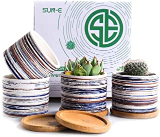Sun-E Succulent Pots Cactus Planter with Bamboo Tray,Ceramic Plants Pot Indoor Herb Container for Home and Office Decor Wedding Christmas Perfect Gift Idea 3.15 Inch with Drainage Hole