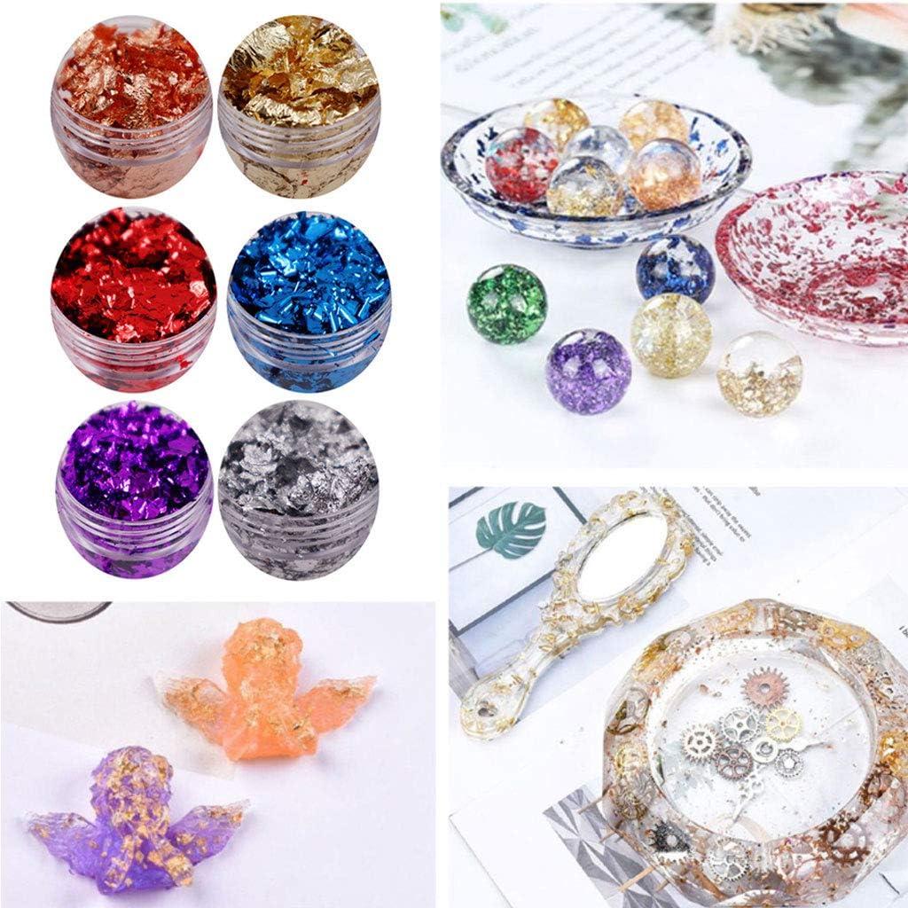 Fashion Necklace,LAIN 6 Color Metallic Foil Kit Resin Flakes Gold Leaf Gilding Epoxy Resin Glitter Kit