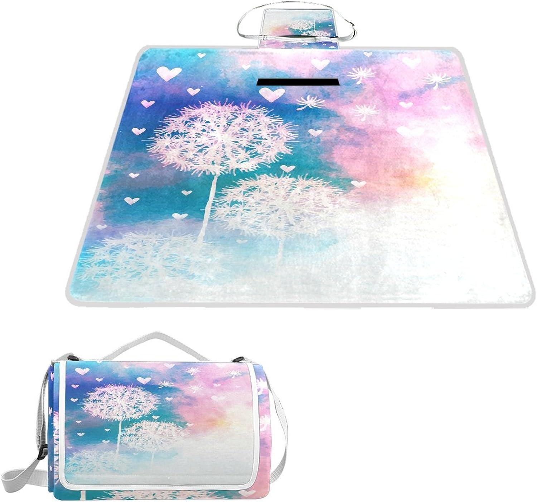 LiKai Picnic Blanket Dream Dandelion Foldable Portable Waterproof Outdoor Travelling Camping Beach Mat
