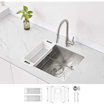 Stainless Steel Sterling Plumbing Sterling By Kohler 20023 Pc Na Ludington 24 Under Mount Single Bowl Medium Single Basin Kitchen Sink With Accessories Kitchen Fixtures Single Bowl
