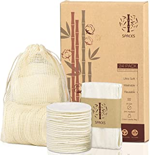 Reusable Makeup Remover Pads,24 Packs Organic Bamboo Cotton Rounds with Spa Headband & Cotton Laundry Bag, Eco-friendly Na...