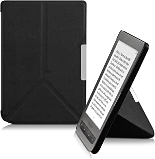 kwmobile Origami Case for Pocketbook Touch Lux 3/Basic Lux/Basic Touch 2 - Ultra Slim Fit Premium PU Leather Cover with Stand - Black