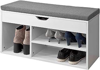 SoBuy® FSR45-HG Banc de Rangement à Chaussures Bottes avec Coussin RembourréMeuble d'Entrée Confortable Etagère à Chaussures