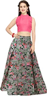 Indian Clothing Store shelvinza's Women's Pink Crop Top and Skirt/Lehenga (Multicolour, Free Size)