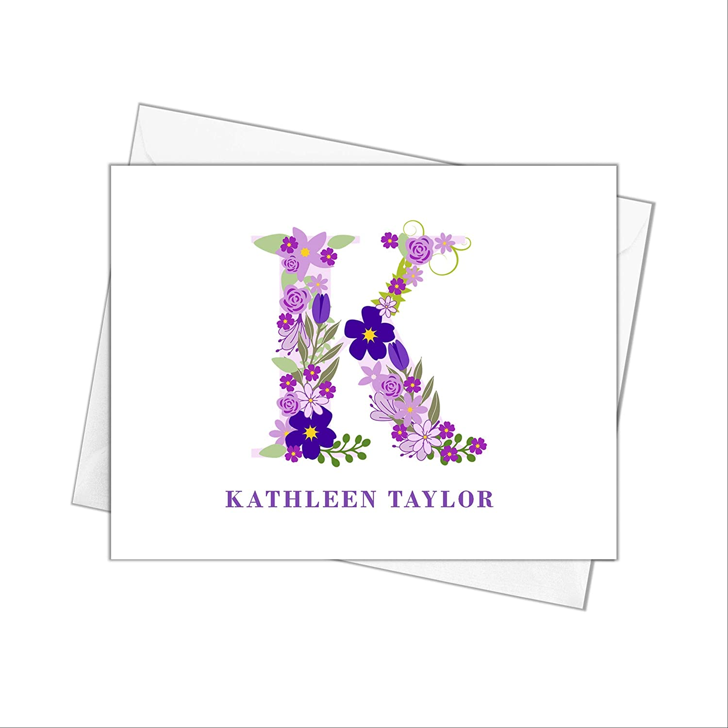 Floral Single Initial Cheap sale Monogram Note with Purple Envelopes Now free shipping Cards