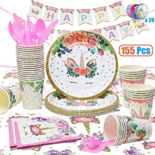 Unicorn Party Supplies, 155 Pcs Disposable Unicorn Tableware Set with Balloons, Napkins, Plates, Cups, Utensils, Banners f...