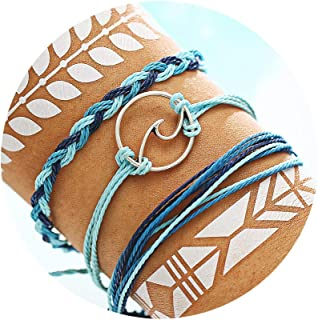 FINETOO Blue Wave Braided Rope Bracelet Set Handmade Waterproof Vsco Bracelets for Woman Girls Gifts