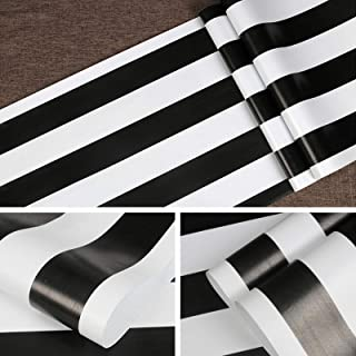 """Symoden Black and White Stripe Wallpaper 17.71"""" x 118"""" Black and White Peel and Stick Contact Paper Self-Adhesive Removabl..."""
