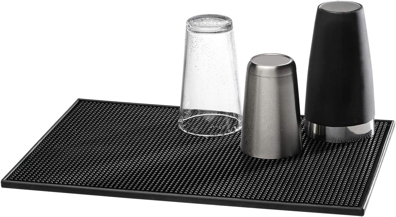 Buddy´s Bar - Alfombrilla de bar de 45 x 31 cm, altura de 1 cm, alfombrilla de goteo para secar platos, secado rápido de vasos, alfombrilla de plástico negro