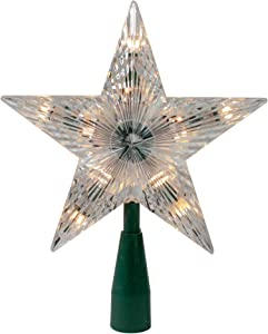 "Kurt Adler 9"" Classic 5-Point Star Christmas Tree Topper - Clear Lights"