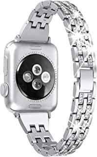 Secbolt Bling Bands Compatible Apple Watch Band 38mm 40mm iWatch Series 5/4/3/2/1 Diamond Rhinestone Metal Jewelry Wristband Strap, Silver