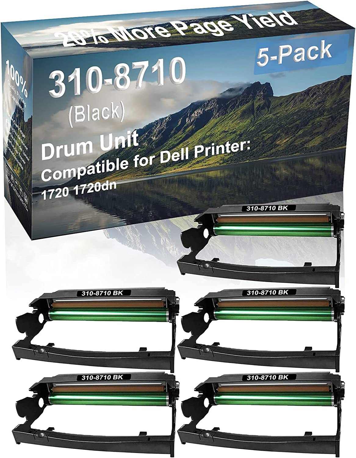 5-Pack Compatible Drum Unit (Black) Replacement for Dell 310-8710 Drum Kit use for Dell 1720 1720dn Printer