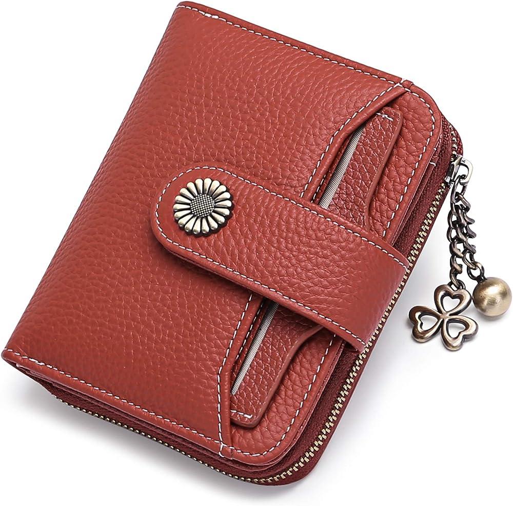Sendefn porta carte di credito con protezione anticlonazione portafoglio da donna in pelle 5185B