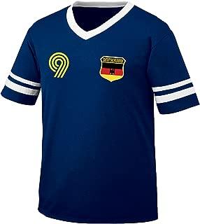 Deutschland Germany Soccer Style Crest and Number Men's Retro Soccer Ringer T-Shirt