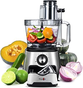 Food Processor-2021 MAGICCOS 1000W 14 Cup Vegetable Chopper, Large Dual Feed Chute, 7-in-1 Multifunctional, 7 Speeds & Pulse, Storage Drawer, Chopping Kneading Shredding Slicing French Fry, Stainless Steel