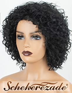 Synthetic Black Short Curly Wigs for Women, Scheherezade Cheap 10 Inches Glueless Kinky Curly Bob Wig, Heat Resistant None Lace Full Machine Made Deep Color Short Bob Curly Black Synthetic Wig