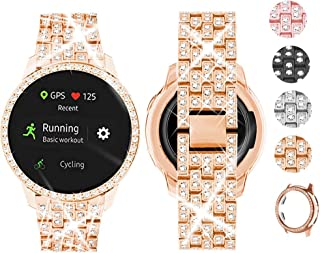 Supoix Compatible for Samsung Active 2 Watch Band 44mm + Case, Women Bling Jewelry Replacement Strap&PC Bumper Screen Protector Cover for Galaxy Active 2 Watch 44mm (Rose Gold/44mm)