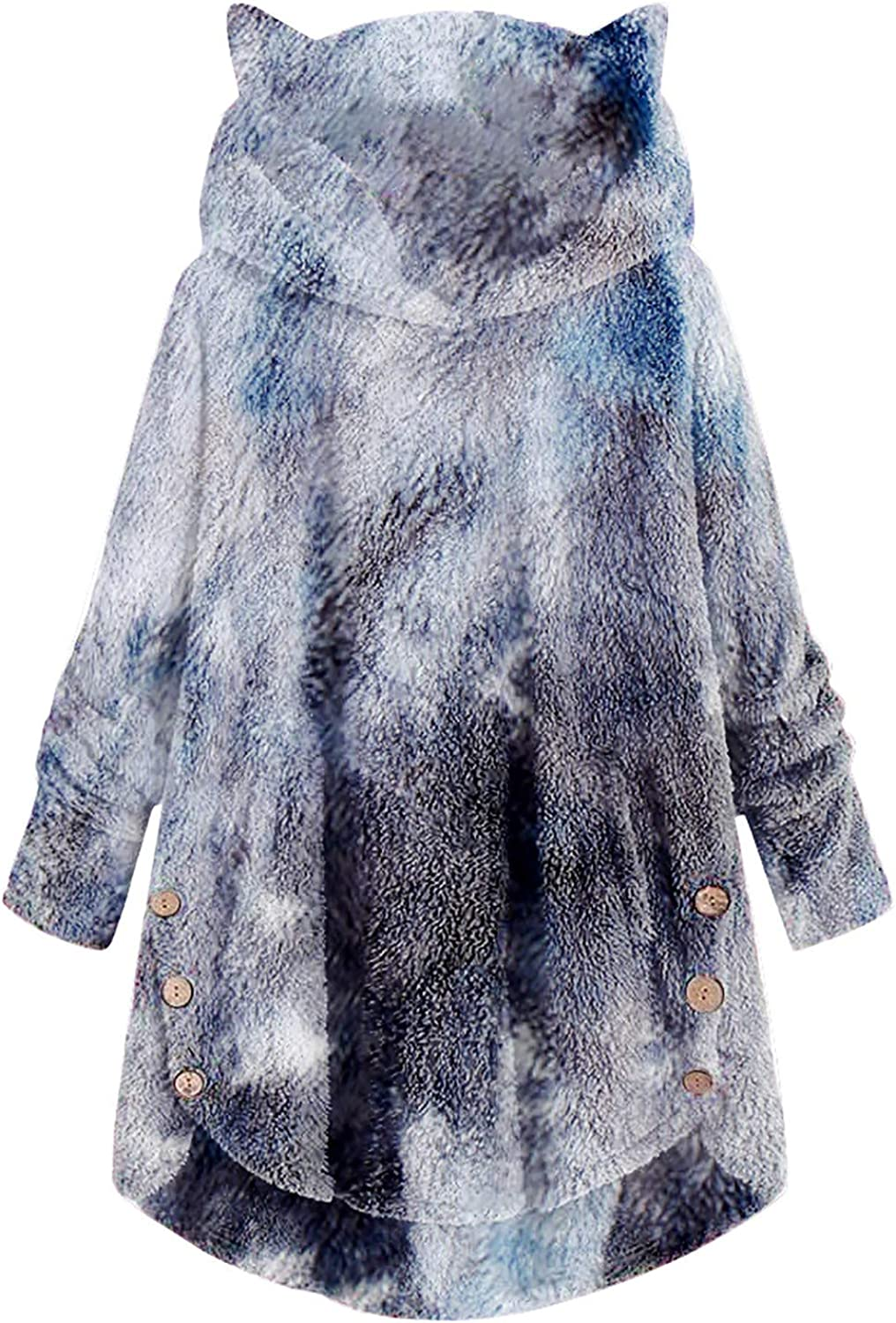 Eduavar Womens Winter Warm Limited price Hooded Thicken Oversize Coat Fuzzy Max 77% OFF Fl