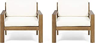 Great Deal Furniture Afra Outdoor Acacia Wood Club Chairs with Cushions (Set of 2), Teak and Cream