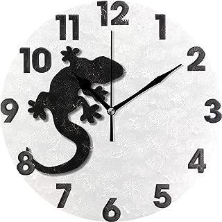 MIKA 置き時計 掛け置き両用 卓上 時計 おしゃれ 壁掛け時計 モダン アート インテリア ウォールクロック 壁時計 新生活 置時計・掛け時計 黒いヤモリ