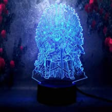 LED Illusion Night Light Movie Game of Thrones A Song of Ice and Fire Eddard Stark Desk Table Lamp Sleep Bedside Light 7 Color Change Remote Control USB Base Battery Powered