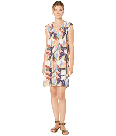 Mod-o-doc Tropical Palms Pintuck Front Shift Dress (Khaki) Women