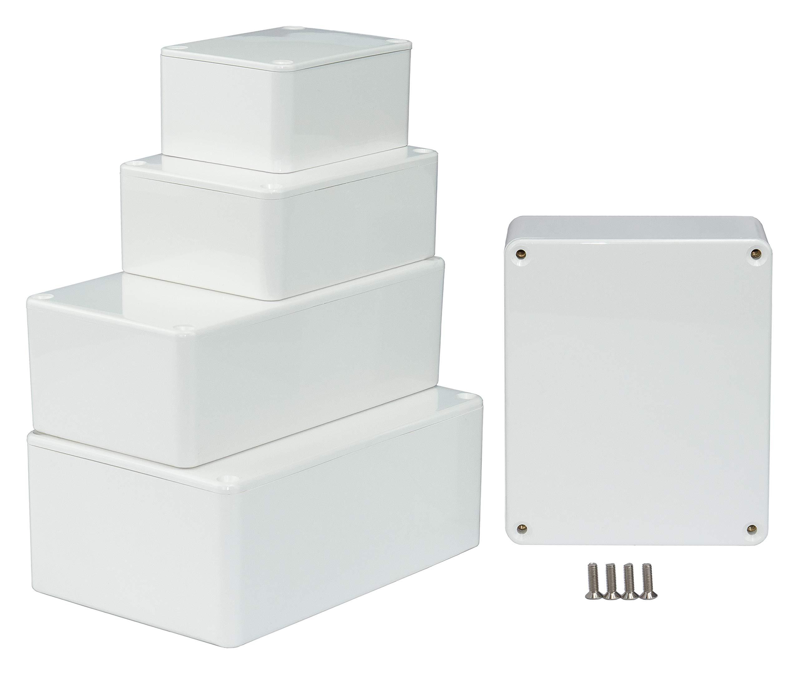 MB2W - Caja de plástico ABS con Tapa, Caja Multiusos, Caja de módulos, (LxAxA) 100 x 76 x 40 mm, con Ranuras para Placas de Circuito (Costillas), Blanco: Amazon.es: Electrónica
