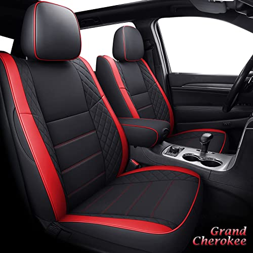 discount Coverado Front and Back Seat Covers sale 5 Pieces, Custom Leatherette discount Seat Cushions for Jeep Grand Cherokee 2011-2021, Waterproof Seat Protector Full Set, Red sale