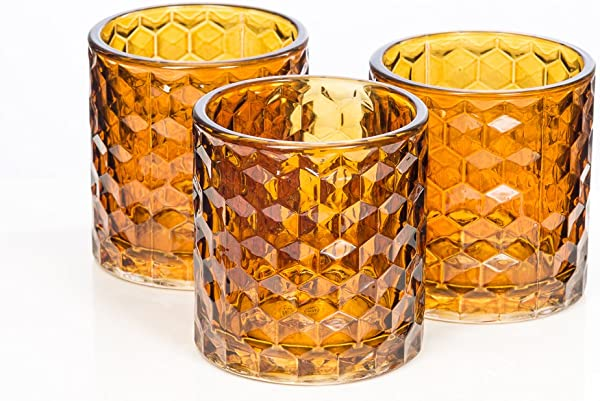 Richland Amber Chunky Honeycomb Glass Votive Tealight Candle Holder Set Of 48