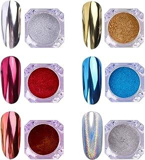 AIMEILI 6 colors Polvo Acrilico Para Uñas Colores Esmalte Uñas Efecto Espejo Arte de Uñas Cromo Pigmento Holográfica Manic...