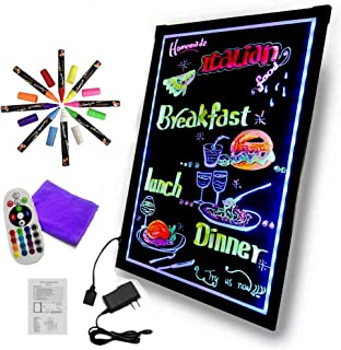 Yeahs Shop Art Glow LED Writing Board Electronic Writing Tablet Drawing Board Illuminated Erasable Neon Painting Sign Board Kids Doodle Board with Remote Control, 8 Highlighter