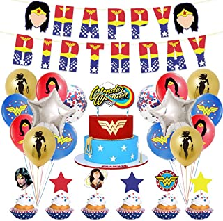 مجموعة ديكورات حفلات عيد ميلاد من وندر ومان للبالغين، مجموعة لوازم الحفلات للفتيات تتضمن هدايا البالونات.