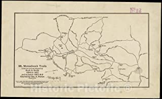 Historic Pictoric Map, Mt. Monadnock trails laid out and developed by Scott A. Smith, 1894 to 1907, and as below 1907-8-9, Vintage Wall Art : 24in x 16in