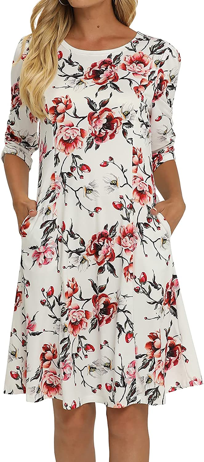 Simple Flavor Women's Short Sleeve Floral Midi Dress Fit and Flare A line Casual Dress with Pockets
