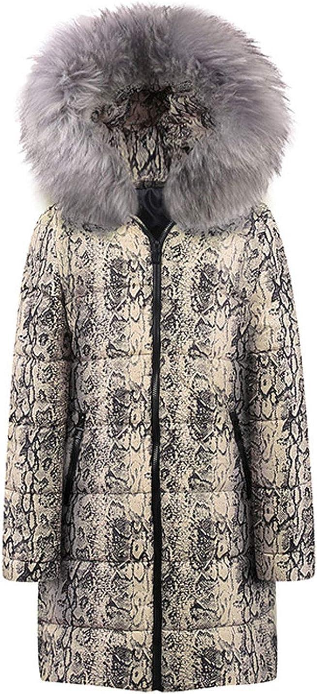 Lentta Womens Retro Print Faux Fur Trim Hoodie Puffy Quilted Winter Coats Parkas