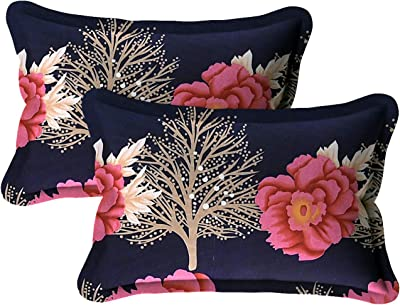 Hind Weave - Microfiber 280 TC Red Rose Floral 1 Double Bedsheet with 2 Pillow Covers -Royal Blue