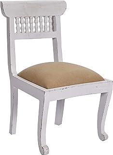 Better & Best Silla pequeña tapizada, con Rejilla de barrotes en el Respaldo, Color Blanco, Tela, 36.5x34x58.5 cm