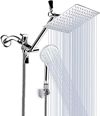 Shower Head, 8'' High Pressure Rainfall Shower Head/Handheld Shower Combo with 11'' Extension Arm, 9 Settings Adjusta