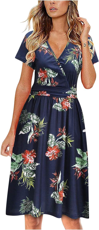 Short Sleeve Dresses for Women, Alysofia Women's Casual Floral Printing Beach Holiday Knee Length Comfy A-Line Dress